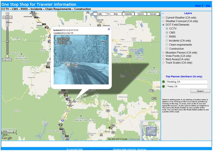 OSS screenshot (12/22/2010): CCTV image of Snowman Summit on SR-89 near Mt. Shasta