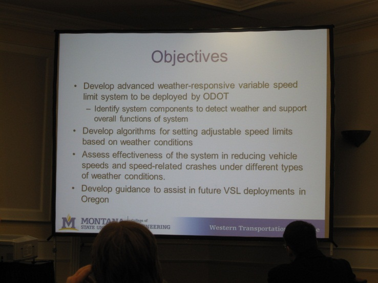 Screenshot from the NWTC presentation showing the objectives for the Weather Based Variable Speed Limits project.